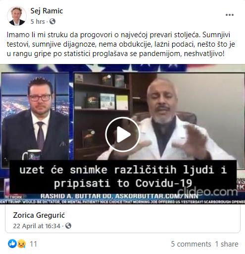 Facebook profil Sej Ramić