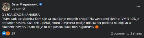 Preuzeto s Facebook profila Saše Magazinovića